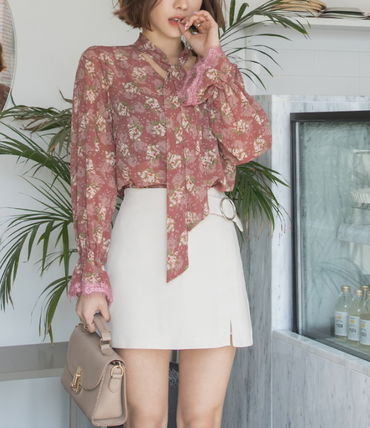 Shirts & Blouses Flower Patterns Long Sleeves Medium Office Style 3