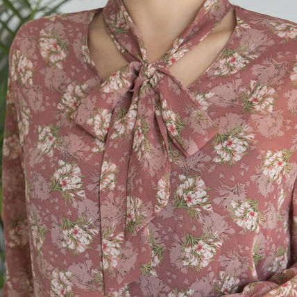 Shirts & Blouses Flower Patterns Long Sleeves Medium Office Style 6