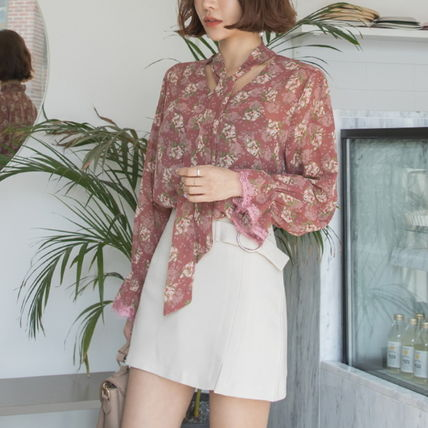 Shirts & Blouses Flower Patterns Long Sleeves Medium Office Style 7