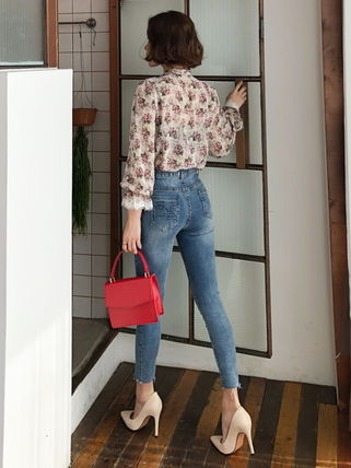Shirts & Blouses Flower Patterns Long Sleeves Medium Office Style 11