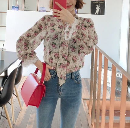 Shirts & Blouses Flower Patterns Long Sleeves Medium Office Style 12