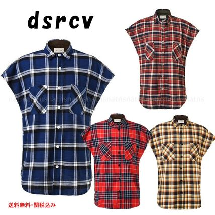Other Check Patterns Cotton Short Sleeves Oversized Shirts