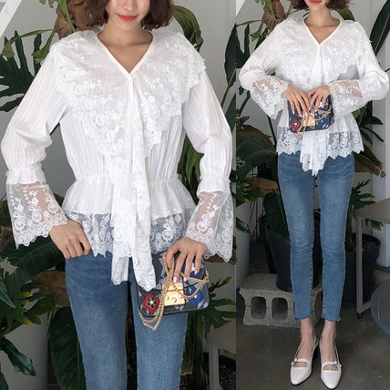Shirts & Blouses Flower Patterns Lace-up Casual Style Long Sleeves Cotton