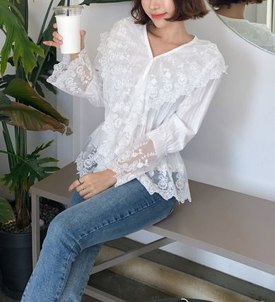 Shirts & Blouses Flower Patterns Lace-up Casual Style Long Sleeves Cotton 2