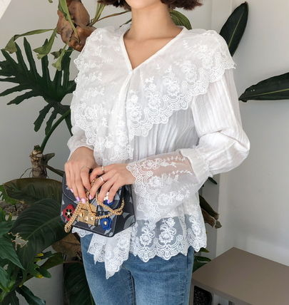Shirts & Blouses Flower Patterns Lace-up Casual Style Long Sleeves Cotton 3