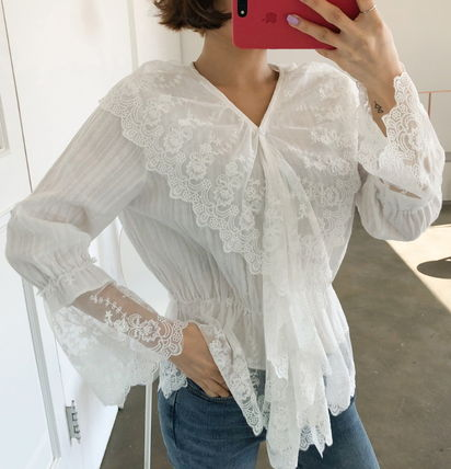 Shirts & Blouses Flower Patterns Lace-up Casual Style Long Sleeves Cotton 5