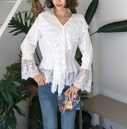 Shirts & Blouses Flower Patterns Lace-up Casual Style Long Sleeves Cotton 6