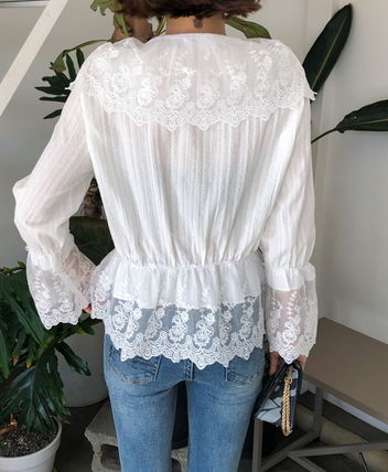 Shirts & Blouses Flower Patterns Lace-up Casual Style Long Sleeves Cotton 8