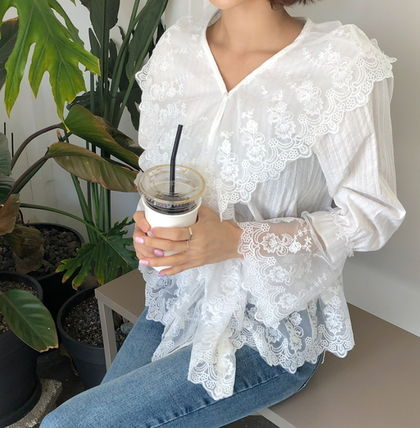 Shirts & Blouses Flower Patterns Lace-up Casual Style Long Sleeves Cotton 9
