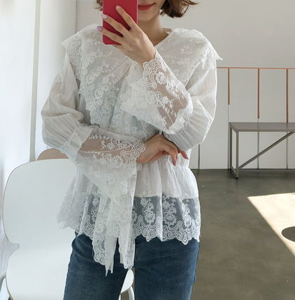 Shirts & Blouses Flower Patterns Lace-up Casual Style Long Sleeves Cotton 10