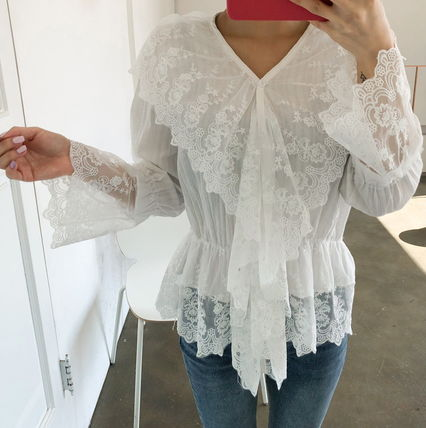 Shirts & Blouses Flower Patterns Lace-up Casual Style Long Sleeves Cotton 11