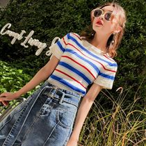 Crew Neck Short Stripes Casual Style Short Sleeves Cropped