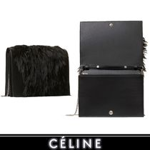 CELINE Frame Fur Blended Fabrics 2WAY Chain Plain Party Style Clutches
