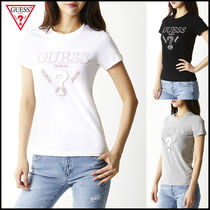 Guess U-Neck Plain Cotton Medium Short Sleeves T-Shirts