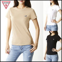 Guess Casual Style U-Neck Plain Cotton Medium Short Sleeves