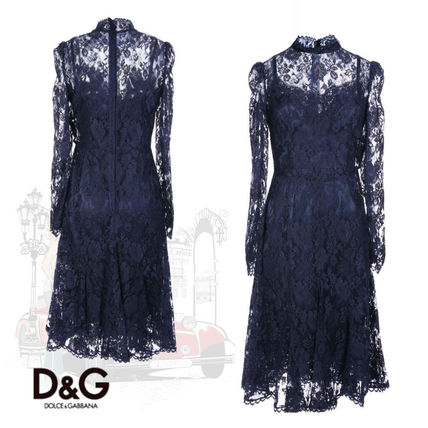 Long Sleeves Medium Party Style High-Neck Lace Dresses