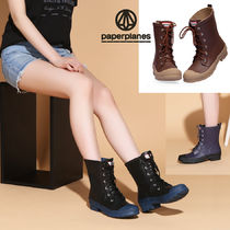 Rubber Sole Lace-up Boots