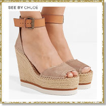 See by Chloe Open Toe Plain Leather Elegant Style