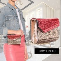 Jimmy Choo Blended Fabrics 2WAY Chain Plain Party Style Clutches