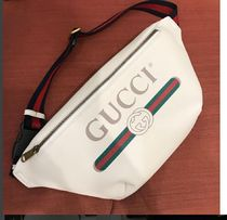 GUCCI Stripes Blended Fabrics Street Style Plain Leather Hip Packs