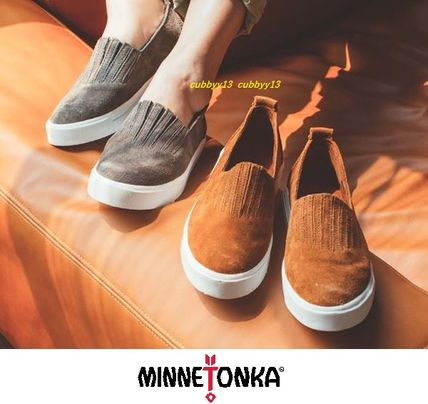 Round Toe Rubber Sole Casual Style Suede Street Style Plain