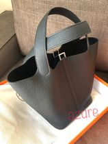 HERMES Picotin Plain Leather Handbags