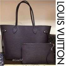 Louis Vuitton NEVERFULL Blended Fabrics A4 Plain Leather Elegant Style Totes