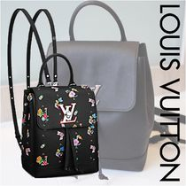 Louis Vuitton LOCKME Flower Patterns Calfskin Blended Fabrics 3WAY Elegant Style