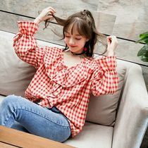 Short Gingham Casual Style V-Neck Long Sleeves Cropped