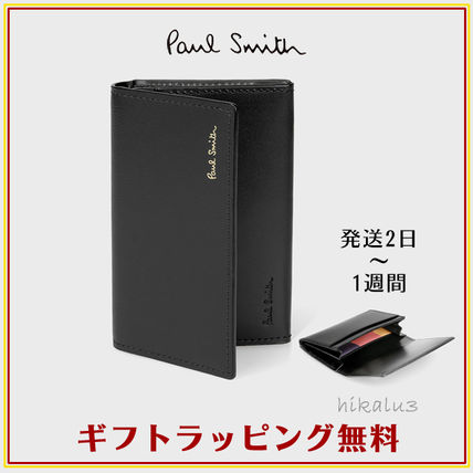 Paul Smith Stripes Unisex Plain Leather Card Holders