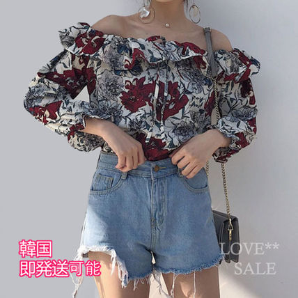 Flower Patterns Casual Style Medium Off the Shoulder