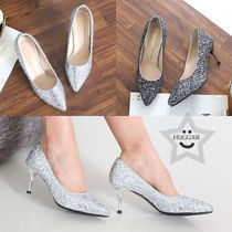 Blended Fabrics Pin Heels Party Style With Jewels