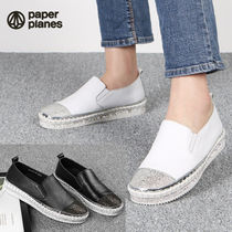 Round Toe Rubber Sole Casual Style Leather Glitter