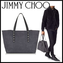 Jimmy Choo Star Crocodile Studded A4 2WAY Other Animal Patterns Totes