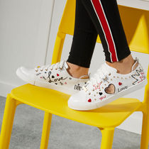 ALDO Heart Lace-up Casual Style Faux Fur Studded Low-Top Sneakers