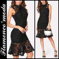 Short Flower Patterns Tight Sleeveless Party Style Lace