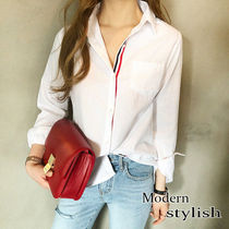 Casual Style Street Style Long Sleeves Plain Cotton Medium