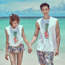 Tropical Patterns Unisex Street Style Plain Co-ord