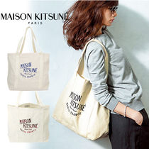 MAISON KITSUNE Casual Style Unisex Canvas Street Style A4 Totes
