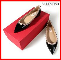 VALENTINO Studded Street Style Leather Elegant Style Slip-On Shoes