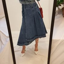 Flared Skirts Casual Style Denim Medium Midi Midi Skirts