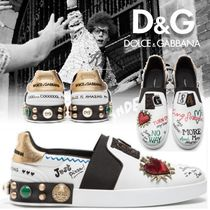 Dolce & Gabbana Heart Studded Leather Loafers & Slip-ons