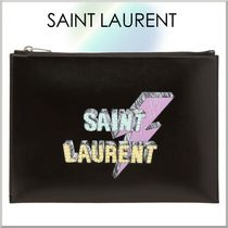 Saint Laurent Unisex Studded Bag in Bag Leather Clutches