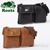 Roots Casual Style Unisex Plain Leather Hip Packs