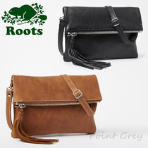 Roots Casual Style Tassel 2WAY Plain Leather Shoulder Bags