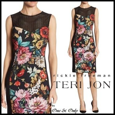 Flower Patterns Tight Sleeveless Boat Neck Medium Dresses