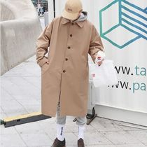 Stand Collar Coats Street Style Plain Long Trench Coats