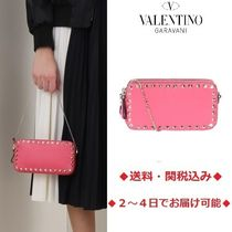 VALENTINO Calfskin Studded Plain Party Style Party Bags