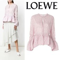 LOEWE Long Sleeves Plain Cotton Medium Elegant Style