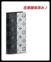 Louis Vuitton BRAZZA Monoglam Street Style Plain Leather Long Wallets